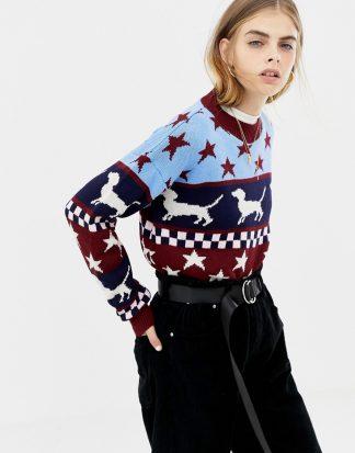 Daisy Street - Jultröja med tax och stjärnor-Flerfärgad