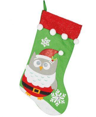 Grön Uggla Julstrumpa med Tomtedräkt