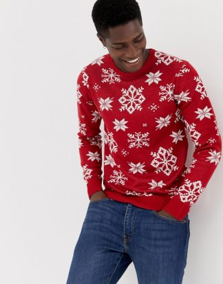 Jack & Jones - Originals - Stickad jultröja-Röd
