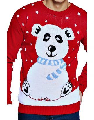 PLUS SIZE - Röd Stickad Jultröja till Man med Isbjörns Motiv