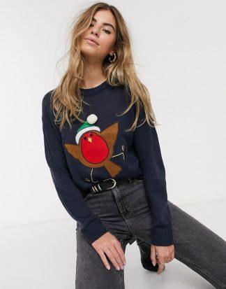 Brave Soul - Jultröja med rödhakemotiv och pompom-Marinblå