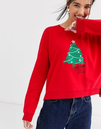 Only - Glittrig jultröja med julgransmotiv-Röd