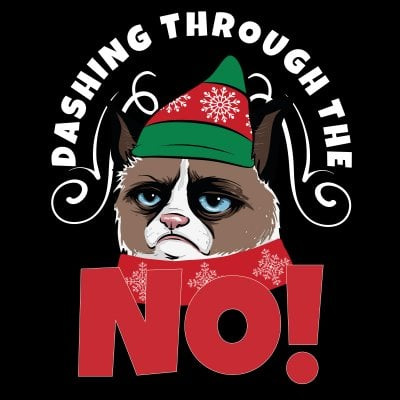 Dashing through the NO! Grumpy Cat T-shirt (Herr,S)