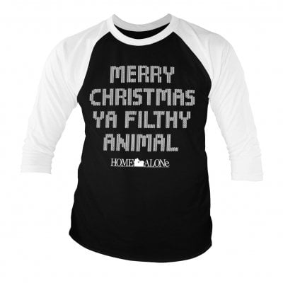 Merry christmas ya filthy animal baseball tee (S)