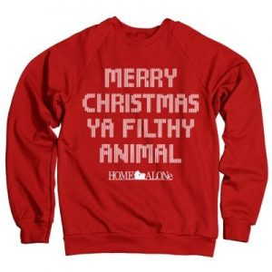 Merry christmas ya filthy animal sweatshirt (Red,S)