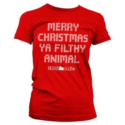 Merry christmas ya filthy animal tjej T-shirt (Red,S)