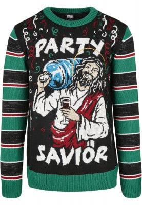 Savior Christmas Sweater (L,black/x-masgreen)
