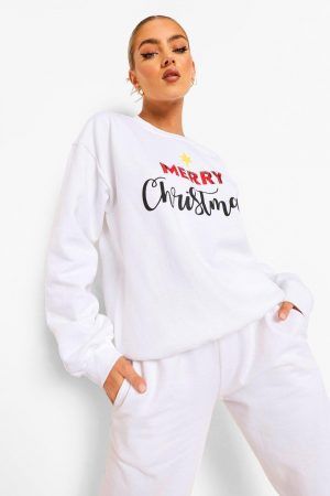 """Merry Christmas"" Sweatshirt, White"