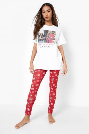 Friends Christmas T-Shirt And Legging Set, Red